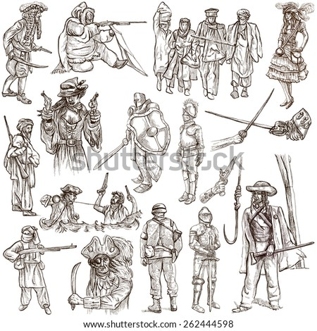 From series: WARRIORS and SOLDIERS - Collection of an hand drawn illustrations. Description: Full sized hand drawn illustrations, original freehand sketches on white. Pack no.5