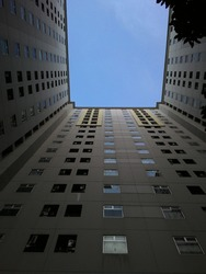 from the bottom of apartement with bluesky contrast