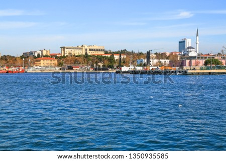 From the coastline of Kadikoy, Haydarpasa a look to the Protocol Mosque and Selimiye Barracks. March 2019 Istanbul-Turkey Stok fotoğraf ©
