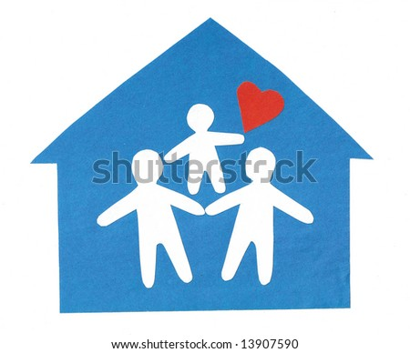 From the silhouettes of people cut out from a paper the composition representing happy family is combined