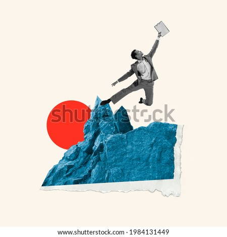 From work to vacations. Young manager, finance analyst or clerk dreaming at office isolated on light background. Contemporary art collage. Inspiration, idea, trendy. Concept of professional occupation