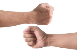 front and back fist isolated on white background