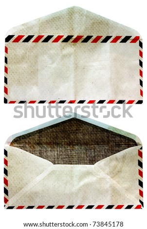 front and back, grunge envelopes was open isolate on white