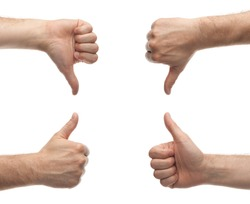 front and back male hands showing thumbs up and down isolated on white background