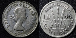 Front and Back of a 1959 Australian three pence Silver coin