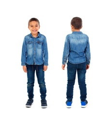 Front and back view of a children with denim clothes isolated on a white background