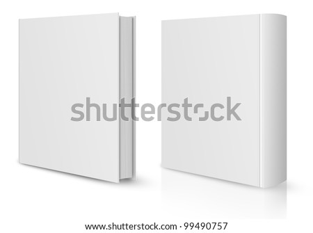 front and back view of Blank book cover white.