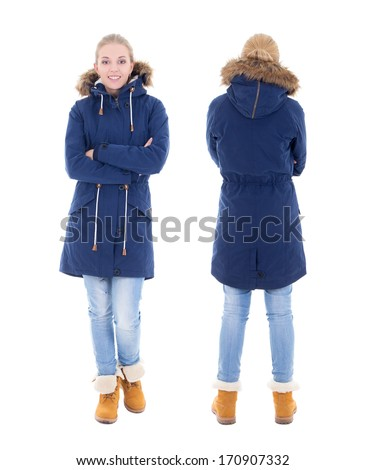front and back view of young woman in winter clothes isolated on white background