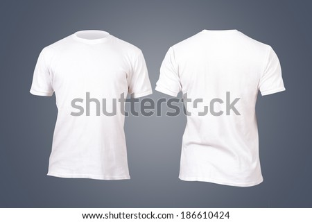 Front and back view white tshirt template for your design on dark background. #186610424