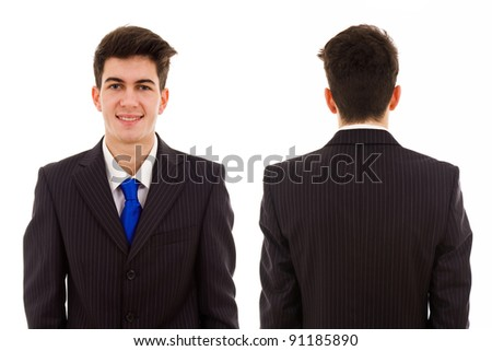 Front and back views of a young business man on white background