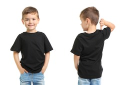 Front and back views of little boy in black t-shirt on white background. Mockup for design