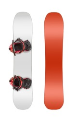 Front and back views of snowboard with bindings isolated on white background