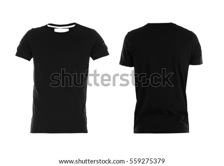 Front and back views of t-shirt on white background - Shutterstock ID 559275379