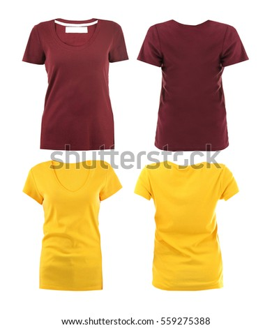 Front and back views of t-shirts on white background - Shutterstock ID 559275388
