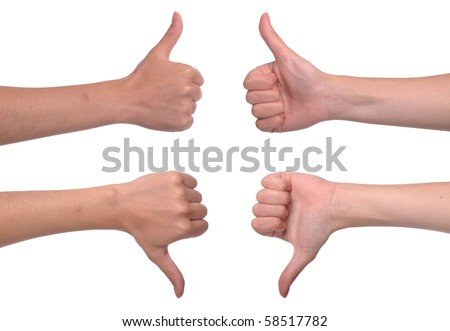 front and back woman hands showing thumbs up and down (isolated on white background)
