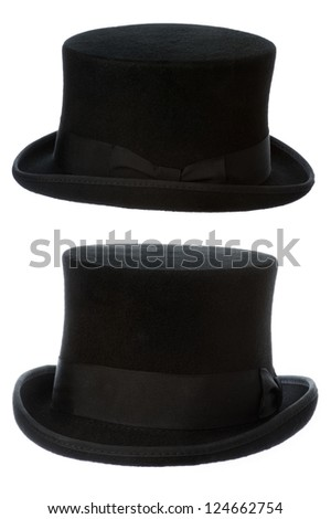 front and side view of a traditional felt top hat isolated on white background