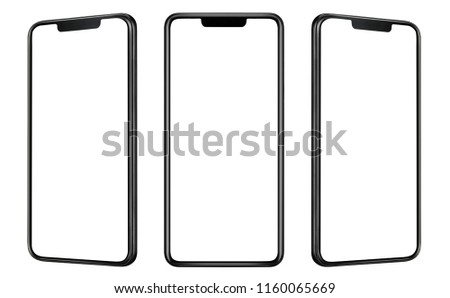 Front and side view of black smartphone with blank screen and modern frame less design isolated on white  #1160065669