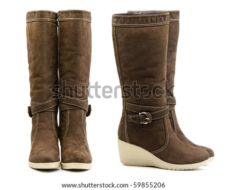 Front and side view of pair of brown female winter boots on white background