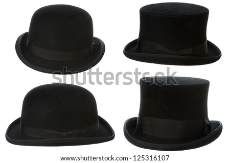 front and side view of top hat and bowler isolated on white