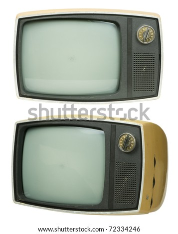 Front and tilt view of an small, old television set. Another layer includes the front view with the screen removed so you can show something inside. 3 clipping paths are also included. - stock photo