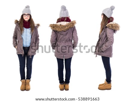 front, back and side view of young woman in winter clothes isolated on white background