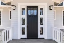 Front black door that is secured