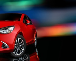 front Car red color on black background for customers. Using wallpaper or background for transport or automotive automobile and place text happy new year 2019 image.