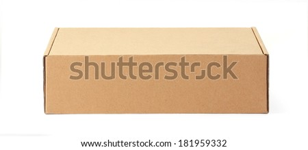 Front cardboard box isolated on white