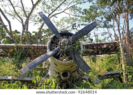 "Front centre view of crashed Russian Antonov An-2 Plane in the Peruvian Amazon. Nicknamed ""Annushka"" or ""Annie"". A single-engine biplane utility/agricultural aircraft designed in the USSR in 1946."