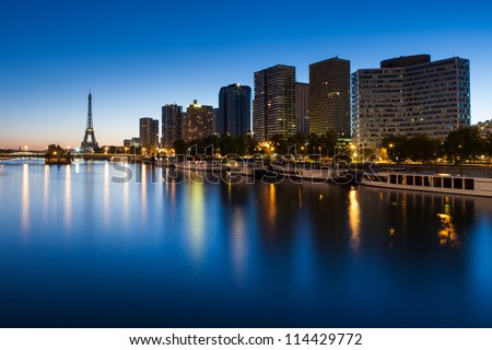 Front de Seine and Eiffel tower at blue hour Paris
