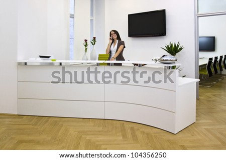 Front desk lady doing her job very well and cheerfully. The black space on the TV-sreen could be used for any logos, some label signs or any graphic additions.