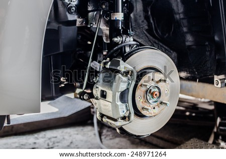 Front disc brake on car in process of new tire replacement. The rim is removed showing the front rotor and caliper