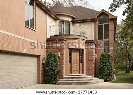 Front door and garage of luxury home