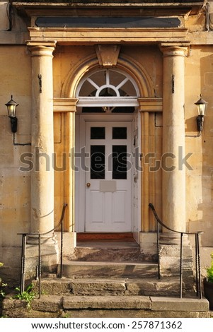 Front Door and Porch of a Beautiful Georgian Era English Town House