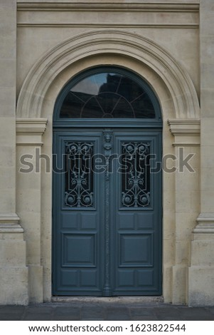 front door, front view of Paris, without distortion, street, white stone, building facade