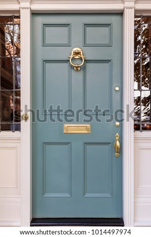 Front door, isolated, in the blue color family #1014497974