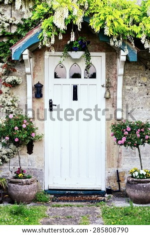 Front Door of a Beautiful Old English Cottage