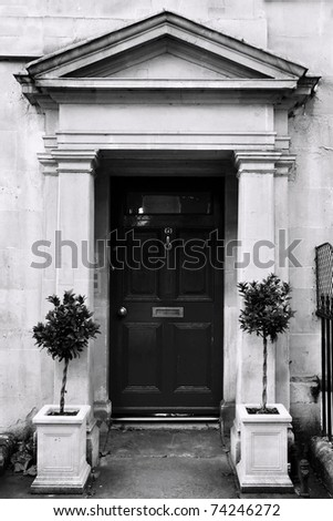 Front Door of a Luxury Georgian Town House in Bath England