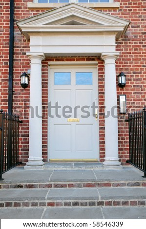 Front Door of a Red Brick London Town House