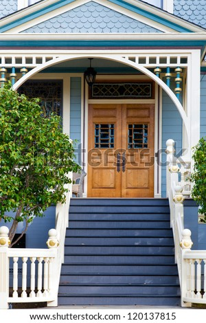 Front Door Of An Old Blue Victorian Cottage In The San Francisco Area Stock Photo 120137815