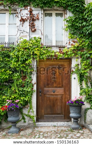 Front Door of an Old Switzerland Cottage House