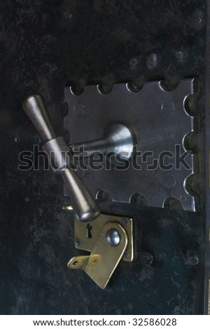 front door of old vintage safe - stock photo