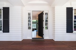 Front Door to traditional style home in Lake Oswego, Oregon