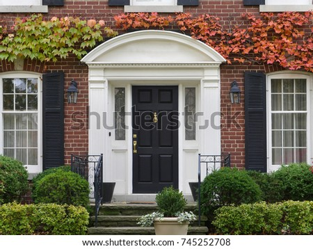 front door with colorful vines in fall #745252708