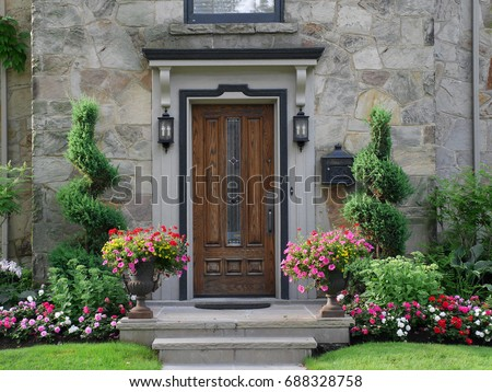 front door with flowers #688328758