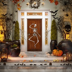 Front Door with Halloween Decorations and Pumpkins. Ready for Halloween