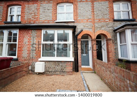 Front elevation and front garden of a small terraced house
