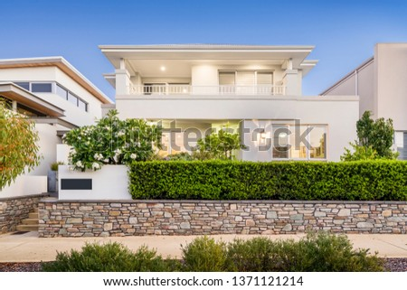 Front elevation / facade of a new double storey modern Australian style home.