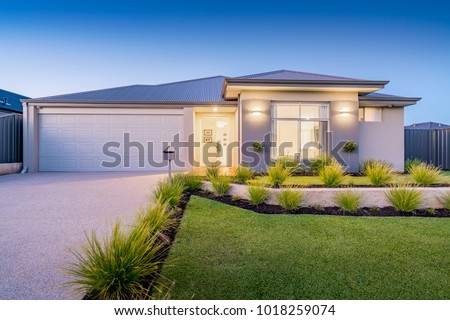 Front elevation / facade of a new modern Australian style home. #1018259074