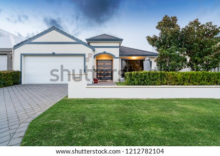 Front elevation / facade of a new modern Australian style home. ストックフォト ©